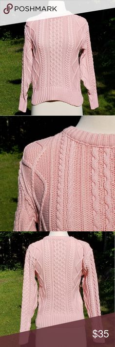 "Vintage L.L. Bean Pale Pink Cable Knit Sweater Beautiful delicate pink cable knit. Vintage L.L. Bean made to last forever. Smoke free home.  100% Cotton   Measurements are approximate and taken laid flat and unstretched.  Underarm to Underarm 18"" Length from Shoulder 21"" L.L. Bean Sweaters Crew & Scoop Necks"