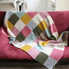 Knitted patchwork quilt