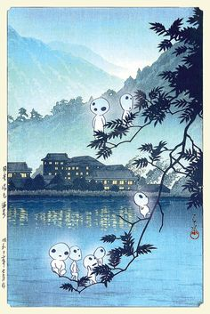 Princess Mononoke Forest spirits Studio Ghibli Kawase Hasui Japanese old woodblock canvas print mashup Studio Ghibli Poster, Studio Ghibli Tattoo, Studio Ghibli Art, All Studio Ghibli Movies, Studio Ghibli Background, Animation Background, Aesthetic Art, Aesthetic Anime, Kodama Tattoo