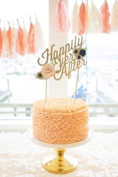 Peach ruffle cake with gold 'happily ever after' topper | SouthBound Bride www.southboundbride.com/styled-shoot-turned-surprise-wedding-by-angie-capri  Credit: Angie Capri