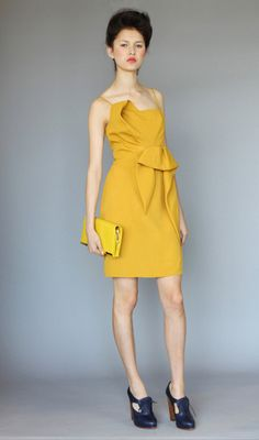 Lovely interpretation of mustard - Asymmetric Dress by Karen Walker