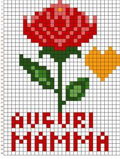 Mamma Fuse Bead Patterns, Kandi Patterns, Perler Patterns, Beading Patterns, Cross Stitch Cards, Cross Stitch Rose, Cross Stitch Embroidery, Art Festa, Art Minecraft