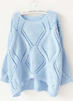 Charming Light Blue Long Sleeve High Low Sweaters