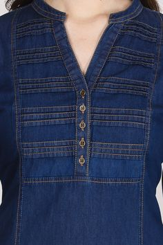 Neck Design for Kurti - The handmade craft Simple Kurta Designs, Kurta Designs Women, Salwar Designs, Designs For Dresses, Dress Neck Designs, Blouse Designs, Indian Designer Suits, Ethnic Wear Designer, Denim Fashion