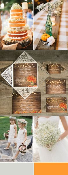romantic yellow and neutral fall wedding color ideas