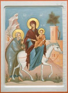 Order a painted icon of the Flight into Egypt. Icon painting studio of St Elisabeth Convent will paint an Orthodox Icon of any size and difficulty Religious Images, Religious Icons, Religious Art, Byzantine Icons, Byzantine Art, Greek Icons, Paint Icon, Religion, Russian Icons