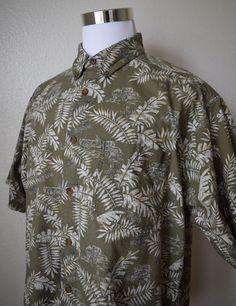 WOOLRICH Men's Shirt Hawaiian Camp Green Button Down Short Sleeve Size XL  #Woolrich #ButtonFront