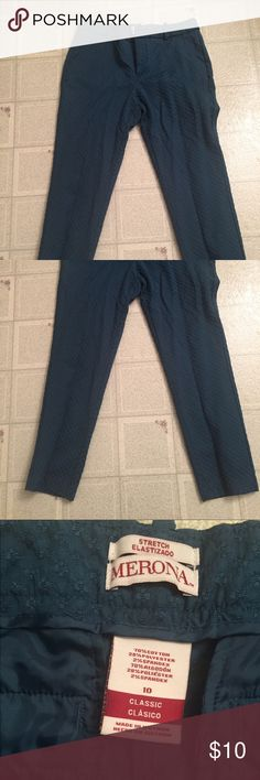 👖Capri pants Tried on and washed but not actually worn. Smoke/pet free as always. The color is a unique shade of blue - not navy but not turquoise either. Size 10. Fit is a bit small. A little stretch but not tons. Accepting reasonable offers for all items in my closet. Bundle and save! Merona Pants Capris