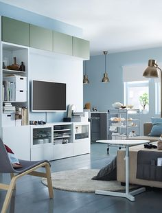 Your secret to an organized living room - the sleek and stylish IKEA BESTÅ storage system! With  an extensive range of suggested colors & combinations, you can create the perfect fit for your space.