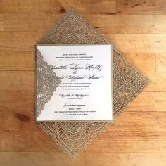 Laser Cut Wedding Invite - Chantilly Lace - Offset Printed - Square from Paper…