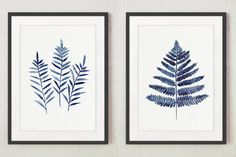 Fern Leaves Navy Blue Poster Abstract by ColorWatercolor on Etsy