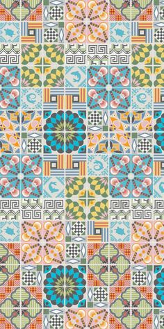 Contemporary ceramic tile design inspired by vintage patterns.Handmade tiles can be colour coordinated and customized re. shape, texture, pattern, etc. by ceramic design studios