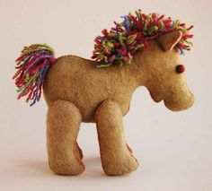 Green Felt Horse Toy Pure Wool Handmade, via Etsy