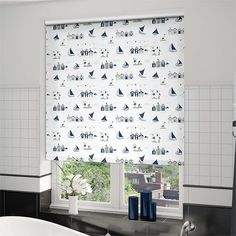Create yourself a seaside theme using this Splash Beach Hut Navy roller blind. With dashes of dark blue in this quaint boathouse design the blind is destined for a bathroom inspired by the British . Seaside Theme, Roller Blinds, Bleu Marine, Stores, Valance Curtains, Navy, Bedroom, Inspiration, Design