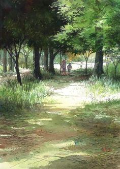 赤坂孝史 水彩画 街の景色  - Takashi Akasaka