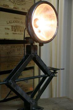 New Diy Lamp Decor Projects Ideas Vintage Industrial Lighting, Industrial Light Fixtures, Industrial Interior Design, Industrial Interiors, Industrial Furniture, Car Interiors, Car Part Furniture, Automotive Furniture, Automotive Decor