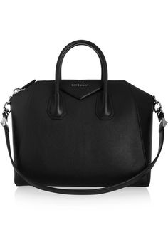Black leather (Goat)  Two top handles, detachable shoulder strap  Designer plaque, silver hardware  Internal zipped and pouch pockets  Fully lined in black canvas  Zip fastening along top  Comes with dust bag Weighs approximately 5.5lbs/ 2.5kg Made in Italy