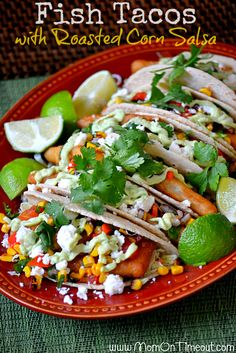 Fish Tacos with Roasted Corn Salsa | MomOnTimeout.com