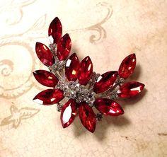 Red Clear Swarovski Crystal Bridal Brooch Pin & Pendant