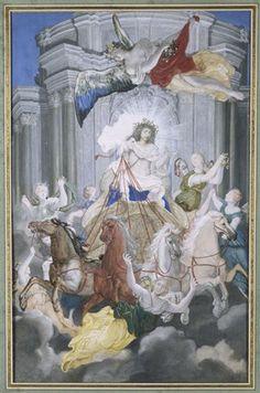 Allégorie de Louis XIV en Apollon dans le char du Soleil précédé par l'Aurore et accompagné par les Heures, par Joseph Werner, vers 1662-1667