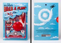 captain bullseye's 'build-a-plane' gift card - ted halbur, brian holt + ed hernandez, 2013 [snap-together bi-plane toy & packaging design/illustration for target from invisible creature studio]