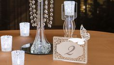 Clear candlestick with lace votive holder