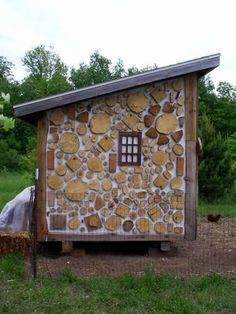 Cordwood Sided Chicken Coop  I would love to build this someday