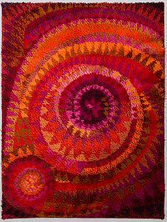 MARJATTA METSOVAARA, ryamatta, för Oy Finnrya Ab. Ca 175x135 cm. - Bukowskis Floor Cloth, Floor Rugs, Vintage Fabrics, Vintage Rugs, Textile Design, Textile Art, Rya Rug, Swedish Embroidery, Latch Hook Rugs