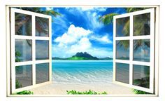 48 Window Scape Instant View Tropical Ocean 3 by StickitGraphix