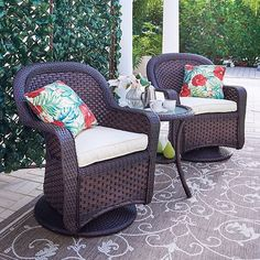 What's the perfect solution for a small space? A traditionally styled, comfortable wicker swivel chair and table set.