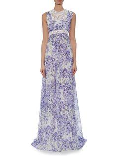 Giambattista Valli Silk-georgette violet-print gown