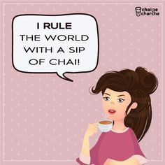 give a girl a cup of tea and watch her rule! cute girl illustration graphics design art coffee ruler