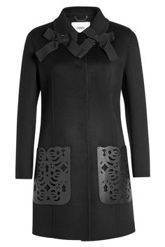 Wool Coat with Leather Pockets | Fendi