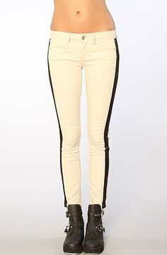 The Cropped Denim Skinny Panelled Pants in Ecru by Free People  #MissKL and #SpringtimeinParis