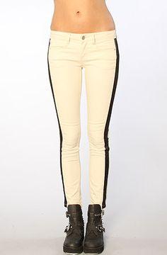 The Cropped Denim Skinny Panelled Pants in Ecru by Free People