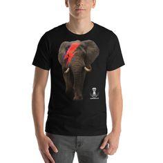 Bowie Elephant Short-Sleeve Unisex T-Shirt Designer Wear, Bowie, Fabric Weights, Elephant, Unisex, Sleeve, Mens Tops, T Shirt, How To Wear