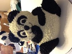 Panda cake. 1st Birthday.  Wilton tin used here, but want to reposition the legs & narrow the bottom of the body a little.