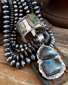 @schaef Labradorite & sterling silver Southwestern Pendant & Bracelet Navajo Pearl Necklaces by Schaef Designs Jewelry online Turquoise Jewelry, Boho Jewelry, Turquoise Bracelet, Jewelry Design, Southwestern Jewelry, Southwestern Style, Pearl Necklaces, Native American Jewelry, Stone Pendants