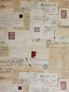 WOW! Postcards Beige-Red Feature Wallpaper