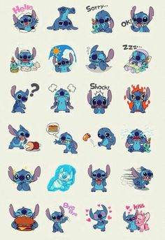 Lilo&Stitch--these could be some sort of emoticons in IMing! Walt Disney, Disney Love, Disney Magic, Disney Art, Lilo Stitch, Lilo And Stitch Tattoo, Cute Stitch, Disney And Dreamworks, Disney Pixar