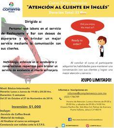 #curso Atención al cliente en Inglés. #PuertoVallarta #RivieraNayarit #Meseros #Bares #Restaurantes  Informes@compitemexico.com.mx