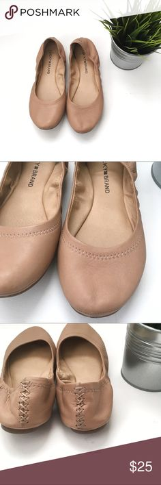 Lucky Brand Ballet Flats Good condition, Lucky Brand tan ballet flats with embellished stitching on heel. Wear as photographed. Lucky Brand Shoes Flats & Loafers