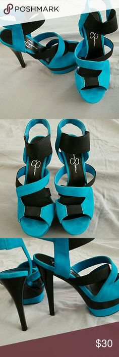 f01320f9d8 Jessica Simpson heels Blue teal and black heels