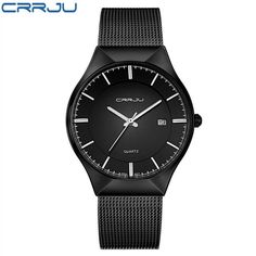 Fashion Simple Stylish Luxury brand CRRJU Watches Men Stainless Steel Mesh Strap Thin Dial Clock Man Casual Quartz-watch Black