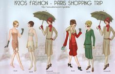 Downton Abbey Fashion Era -  For those in search of the latest modes, Paris was the essential shopping destination. It's winter 1928, and these friends are keeping warm in fur trimmed coats while they scour the stores for chic new outfits. usually armed with a copy of Art Gout Beaut, these ladies would not return home without at least a dozen full outfits to see them safely through the season.