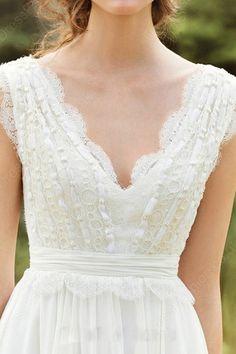 Shimmering Lace Floor-length Zipper Sleeveless Wedding Dresses - Wedding Dresses…