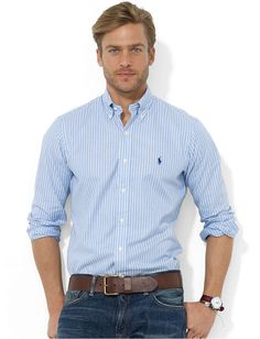 White and Blue Vertical Striped Dress Shirt by Polo Ralph Lauren. Buy for $89 from Macy's