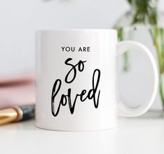 You Are So Loved Mug Best Friends Gift for Sister or Daughter by Digibuddha. Bestfriend best gift for daughter You are my lobster love friendship gift for friend Brush Script, Script Lettering, Gifts For Teens, Gifts For Friends, Mr Mrs Mugs, Encouragement Gift, Christmas Engagement, Engagement Presents, Family Birthdays