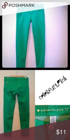 "Celebrity  Pink Green Skinny Pants 17 1/2"" waist, 32"" inseam,  41"" length,  6"" ankle. Celebrity Pink Pants Skinny"