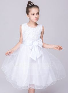 [US$ 24.99] A-Line/Princess Knee-length Flower Girl Dress - Tulle/Polyester…
